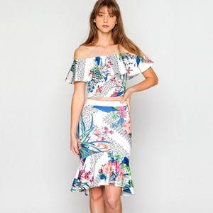 2pc top & skirt tropical resort print set